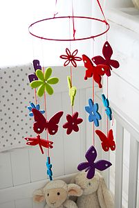Butterfly Felt Baby Cot Mobile - children's room accessories