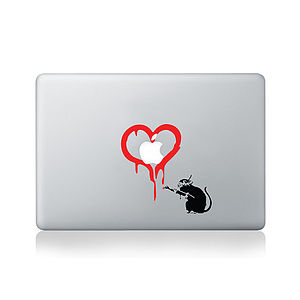 Banksy Rat Loves Apple Decal For Macbook - laptop bags & cases