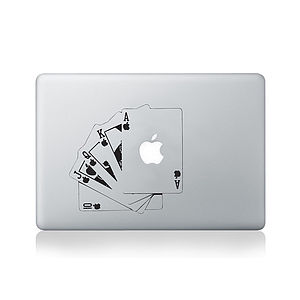 Apple Royal Flush Cards Decal For Macbook - bags & purses