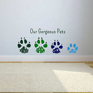 Personalised Paw Print Wall Art Sticker