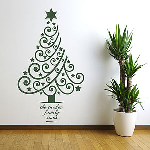 Personalised Xmas Tree Wall Sticker - christmas trees