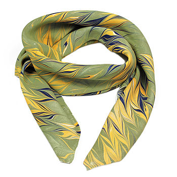 Huron Hand Marbled Silk Scarf