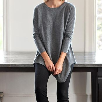 Asymmetrical Cashmere Crew Neck Tunic - Charcoal Grey