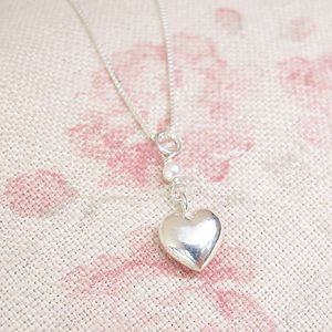A Small Sterling Silver Heart Pearl Pendant - necklaces & pendants