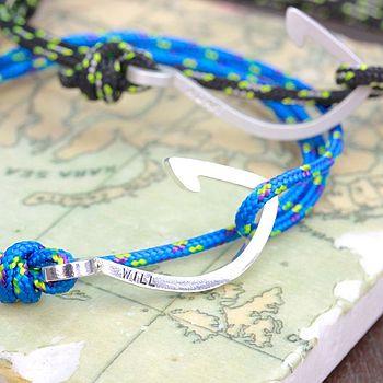 Men's Cord And Hook Name Bracelet
