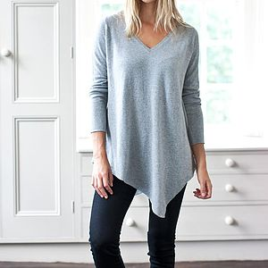 Asymmetrical Cashmere V Neck Tunic