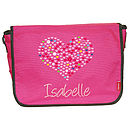 Pink Bag/Army Green Trim, Heart (c) Light Pink Angelina Font
