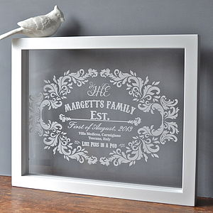 Personalised Etched Family Artwork - gifts from older children
