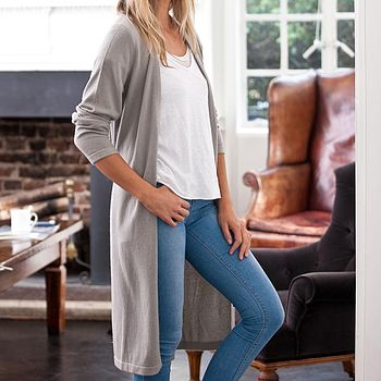 Cashmere Long Cardi with Tie - Soft Sage Grey