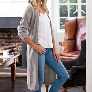 Cashmere Long Cardi With Tie