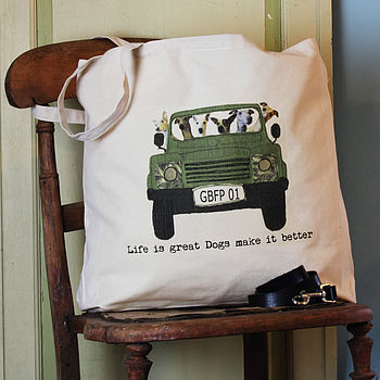 Personalised Your Dog In A Jeep Tote Bag