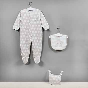 Three Piece Star Print Baby Clothes Set