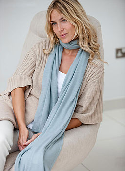 Superfine Cashmere Wrap - Duck Egg Blue