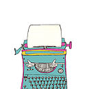 Vintage Typewriter Illustration Print