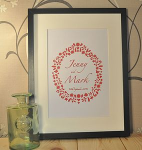 Personalised Laser Cut Name And Date Artwork - posters & prints