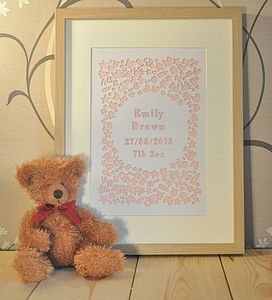 Personalised Laser Cut New Baby Artwork - mixed media & collage