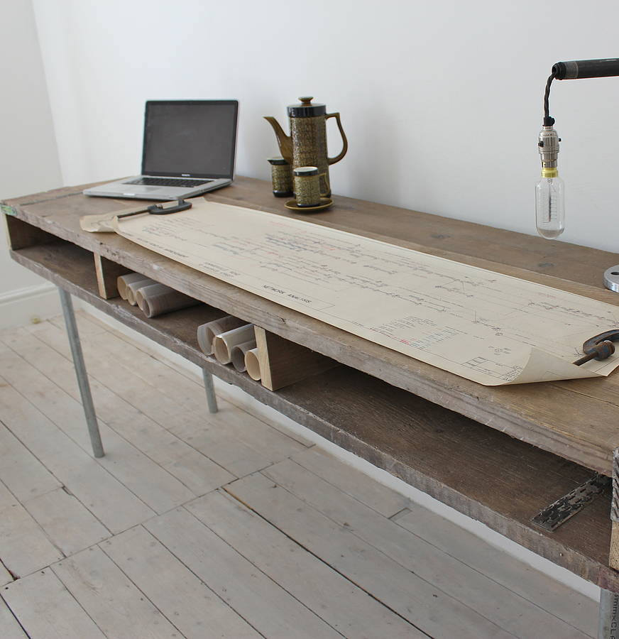 Ellie reclaimed wood desk with steel legs by urban grain Reclaimed wood furniture portland oregon