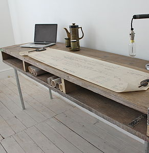 Reclaimed Wood Desk With Steel Legs - furniture