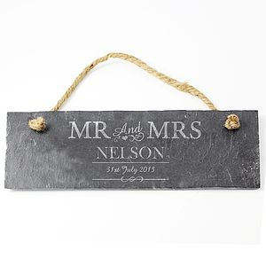 Personalised Slate Mr And Mrs Sign