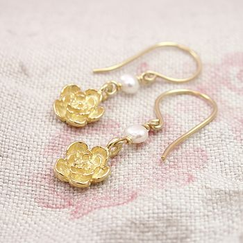 Ivory Pearl And Gold Vermeil Blossom Earrings