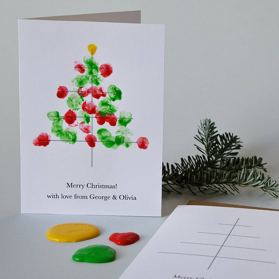 10 personalised finger paint christmas cards by twenty Christmas card scenes to paint