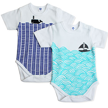 Nautical Baby Bodysuit Set In Organic Cotton