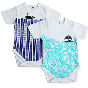 Nautical Baby Bodysuit Set In Organic Cotton - for new mothers