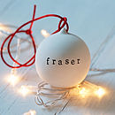 Personalised Ceramic Christmas Bauble for Fraser