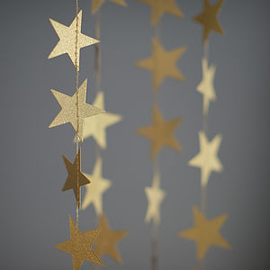 Wishing On A Little Star Gold Garland - decorative accessories