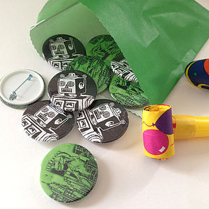 Set Of Dinosaur And Robot Badges