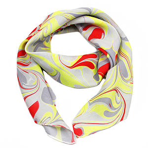 Berlin Hand Marbled Silk Scarf