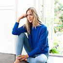 Chunky Knit Crew with separate Roll Neck - Monaco Blue