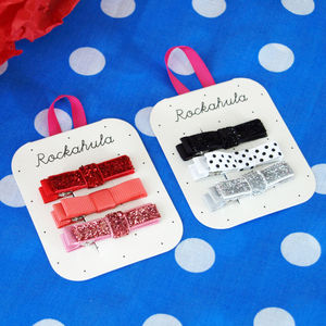 Glitter Velvet Bow Hair Clips - stocking fillers under £15