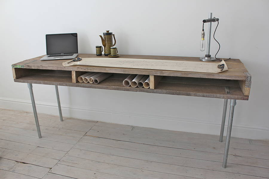 Ellie reclaimed wood desk with steel legs by urban grain for Metal desk with wood top