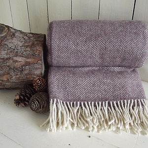 Soft Heather Herringbone Tweed Wool Throw - throws, blankets & fabric
