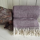 'Soft Heather' Herringbone Tweed Wool Throw