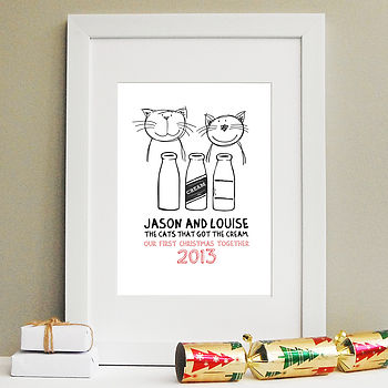 'Cats Got The Cream' First Christmas Print