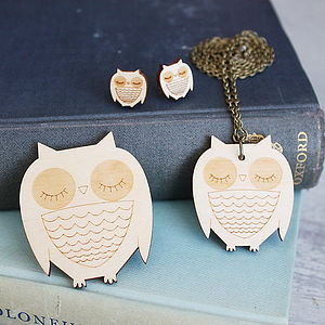 Wooden Owl Jewellery Gift Set - jewellery sets