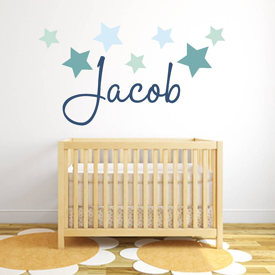 wall art stickers and decals notonthehighstreet com star name fabric wall stickers baby s room