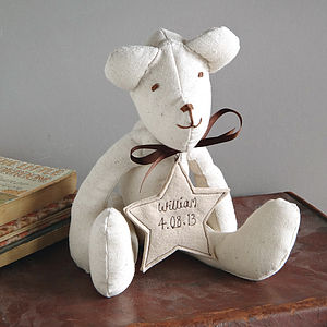 Personalised Handmade Fabric Teddy Bear - soft toys & dolls