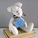 personalised fabric bear with blue star