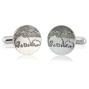 Sterling Silver Elephant And Baby Elephant Cufflinks