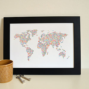 Map Of The World Heart Print