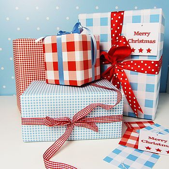 Gingham Double Sided Wrapping Paper