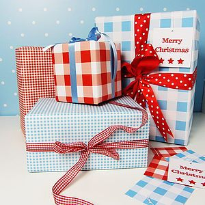 Gingham Double Sided Wrapping Paper - ribbon & wrap