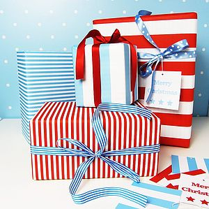 Stripe Double Sided Wrapping Paper - ribbon & wrap