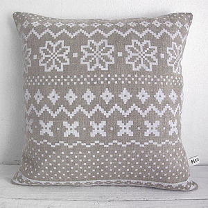 Fair Isle Linen Cushion