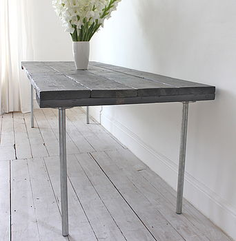 Reclaimed Wooden Board And Steel Dining Table
