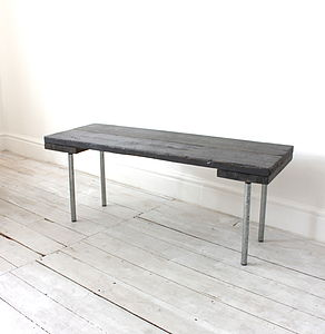 Reclaimed Scaffolding Board And Steel Bench - furniture