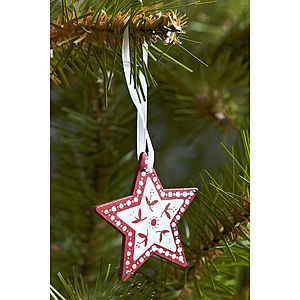 Five Nordic Wooden Stars - tree decorations